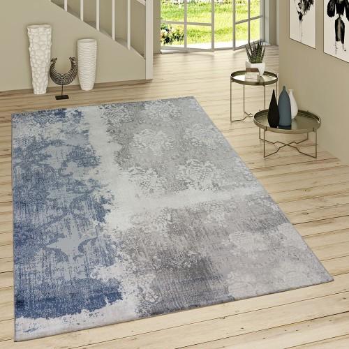 Kurzflor Teppich Denim Look Mit Rokoko Muster Jeansblau Modern Meliert Grau