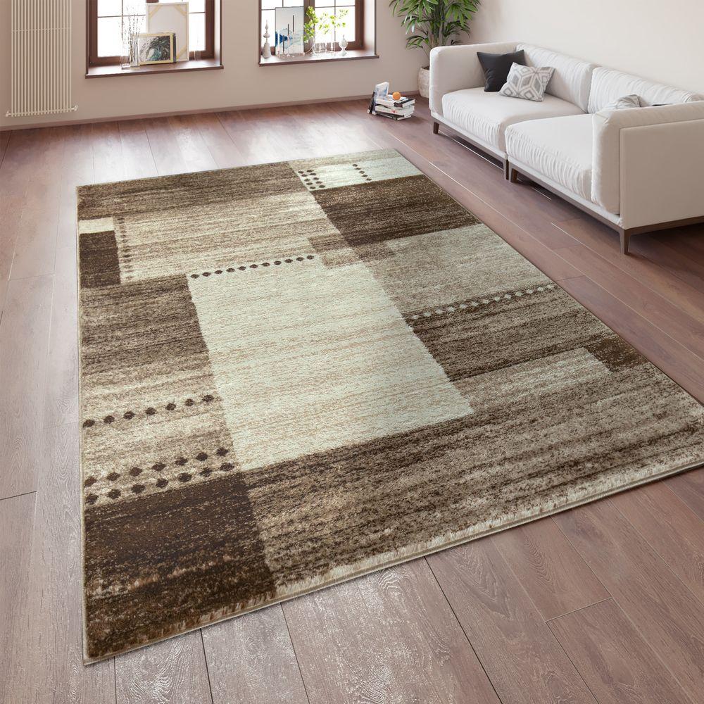 Teppich Wohnzimmer Meliert Karo Muster Kurzflor