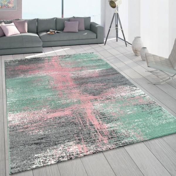 Teppich Wohnzimmer Bunt Grün Rosa Pastellfarben Vintage Design Frisé Kurzflor