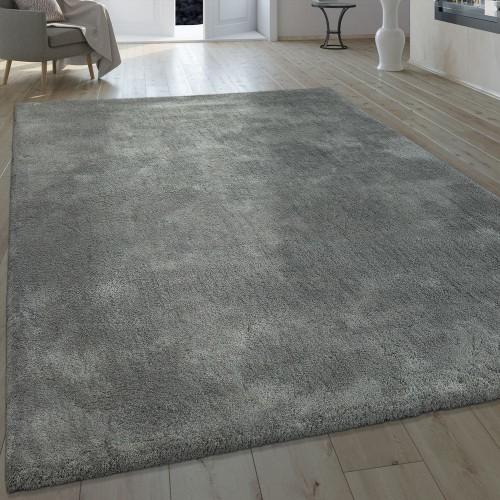 Handgefertigter Shaggy Teppich Einfarbig Grau