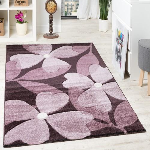 Designer Teppich Hochwertig Modern Blumen Muster Meliert Kleeblatt Purple Lila Creme