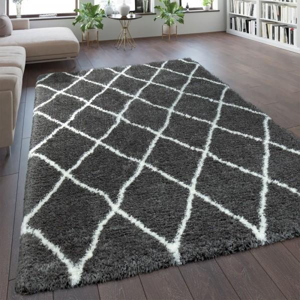 Teppich Grau Wohnzimmer Weich Kuschelig Rauten Muster Shaggy Flokati Hochflor