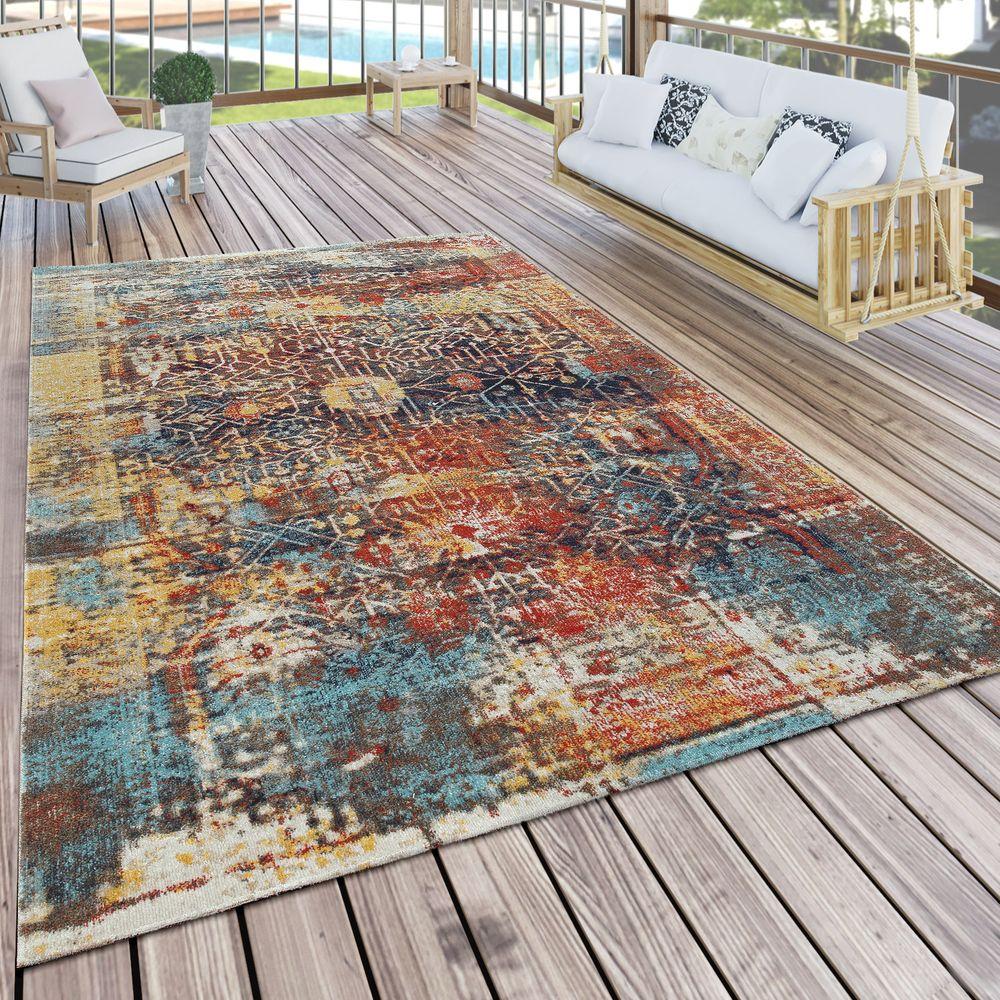 Outdoor Teppich Ethno Muster Balkon Terrasse