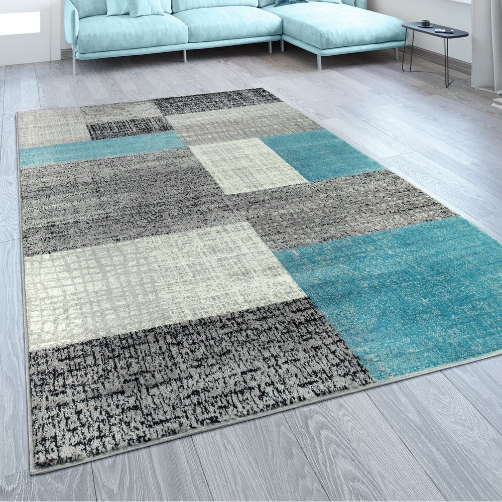 Teppich Wohnzimmer Modern Kurzflor Karo Design