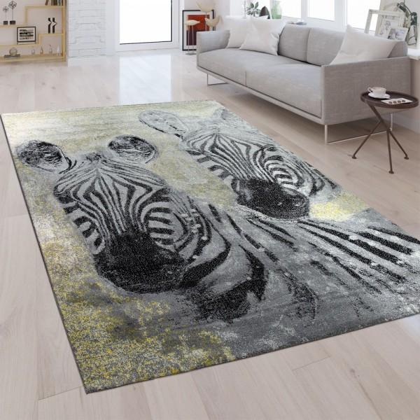 Designer Teppich Zebra Silber Grau