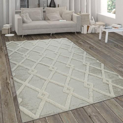In- & Outdoor-Teppich mit Hochflor Rauten-Muster