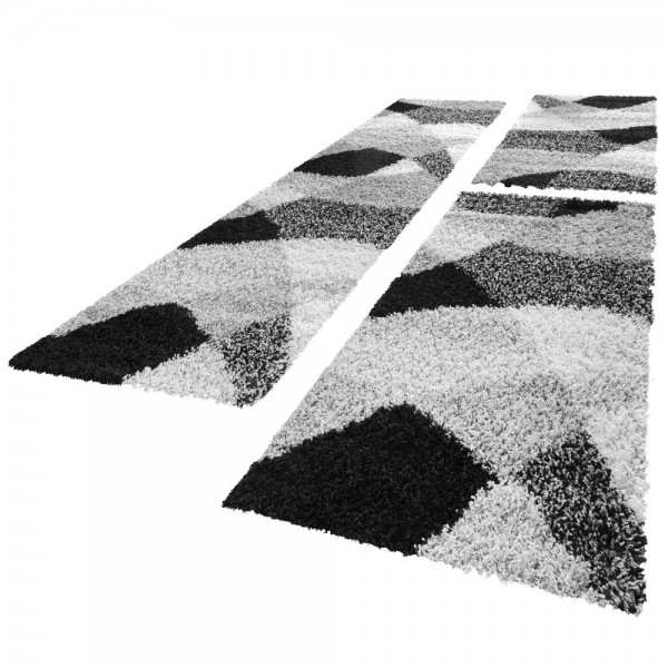 Läuferset Shaggy in Schwarz, Weiß und Grau