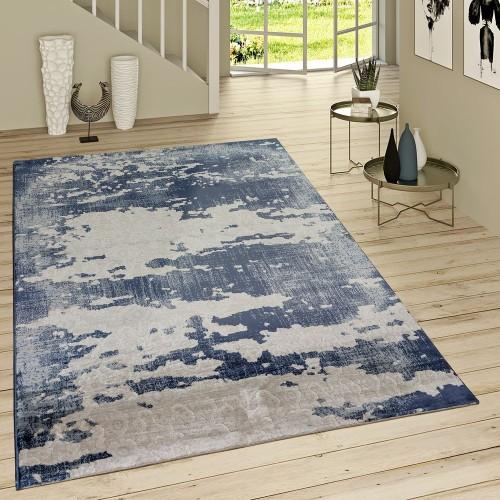 Kurzflor Teppich Used Look Ornamentale Muster Jeansblau Modern In Grau Blau