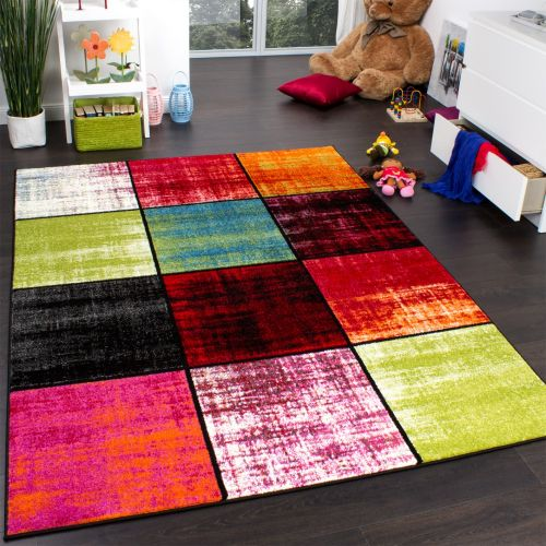 Teppich Kinderzimmer Karo Kinderteppich Mehrfarbig Meliert Rot Pink Grün Blau