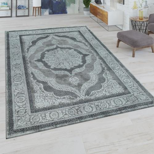 Kurzflor Wohnzimmer Teppich Orientalisches Design Ornamente In Grau