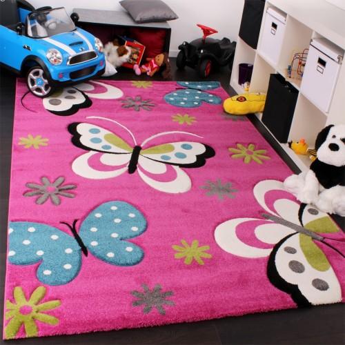 Kinder Teppich Schmetterling Design Grün Grau Schwarz Creme Pink