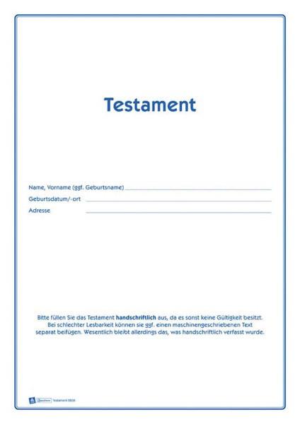 Testament A4 Vordruckset zur Erstellung