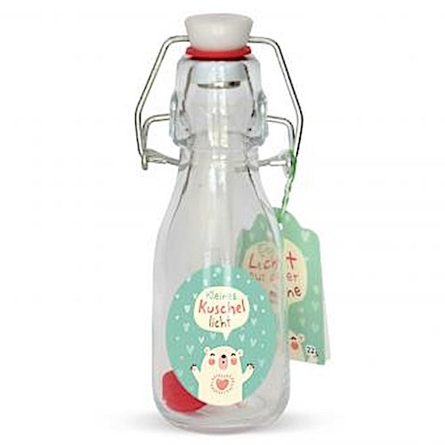 Gruss und Co Licht aus der Flasche Kuschellicht Geschenkartikel, Glas, Mehrfarbig, 5.5 x 5.5 x 14.5