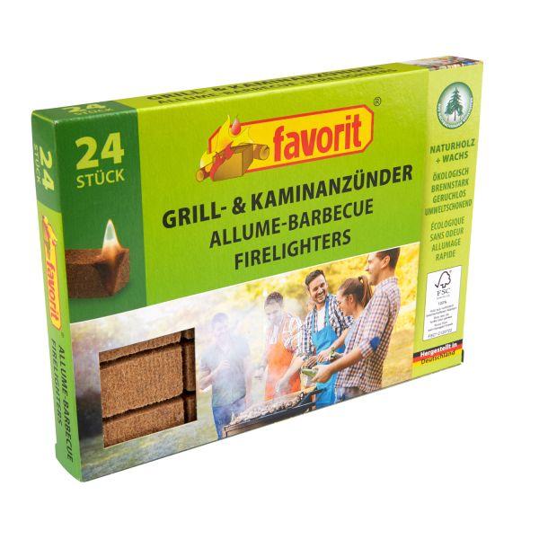 Favorit Grill-Kaminanzünder aus Naturholz, 24 Stück